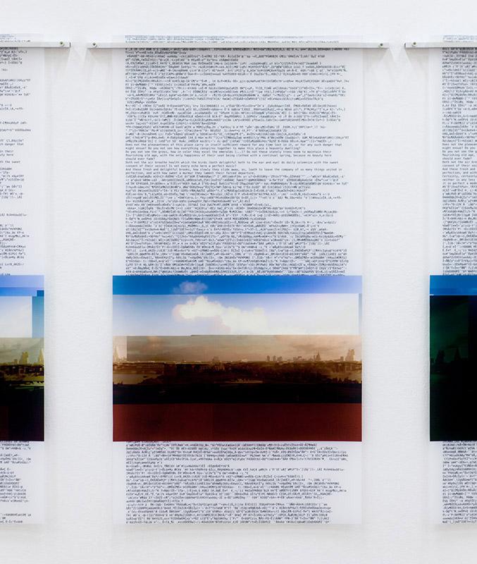 """""""Just Like Arcadia"""", veduta dell'installazione al Krakow Photomonth festival (particolare), 2016, stampe su PVC trasparente"""